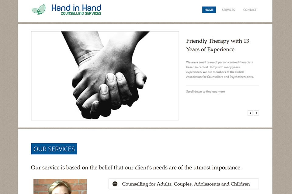 Hand In Hand Counselling | Web Design Portfolio